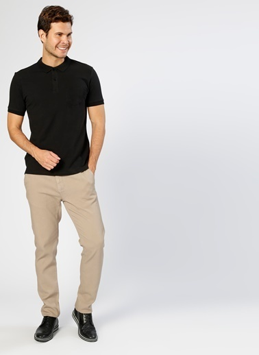 Cotton Bar Polo Yaka Tişört Siyah